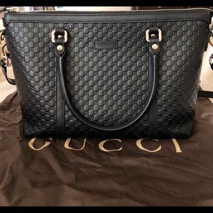 Gucci Black leather Micro Gg Med Convertible purse